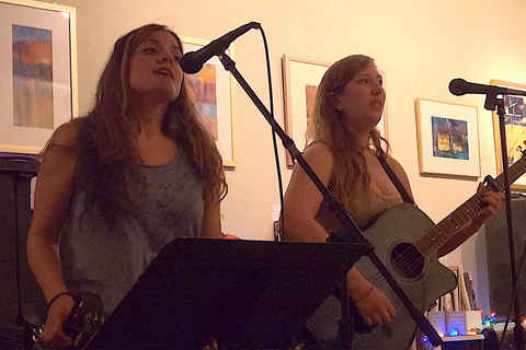 Angela Bove and Jessica Jones at open mic