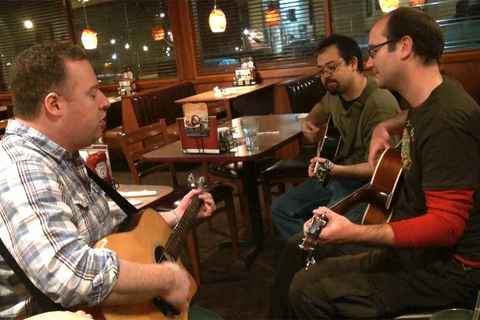 Post-open mic jam at Denny's